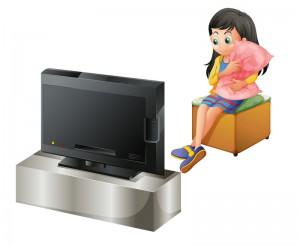 Tv-tid pige ser tv